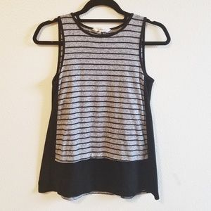 Athleta Striped Loose Tank Black and Gray Size XS